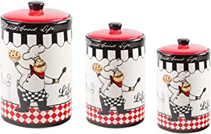 Home Essentials 60150 Set Of 3 Chef Design Round Canisters