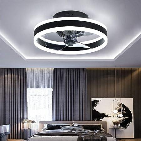 TATANE Reversible Plafonnier Ventilateur Silencieux Telecommande 6 Vitesses Chambre Ventilateur de Plafond avec Lumiere Moderne Salon Φ40cm 24W Dimmable LED Ventilateur de Plafond,Noir