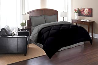 Elegant Comfort All Season Goose Down Alternative Reversible 3-Piece Comforter Set- Available in and Colors, Full/Queen, Black/Gray