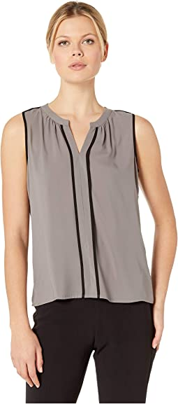 Sleeveless Piped V-Neck Top