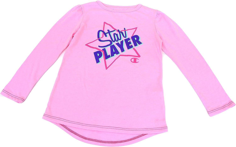 Champion Performance Little Girls Long Sleeve Graphic Print T Shirt Pink
