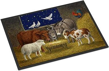 "Caroline's Treasures ASA2205JMAT Animals at Crib Nativity Christmas Scene Indoor or Outdoor Mat, 24"" x 36"", Multicolor"