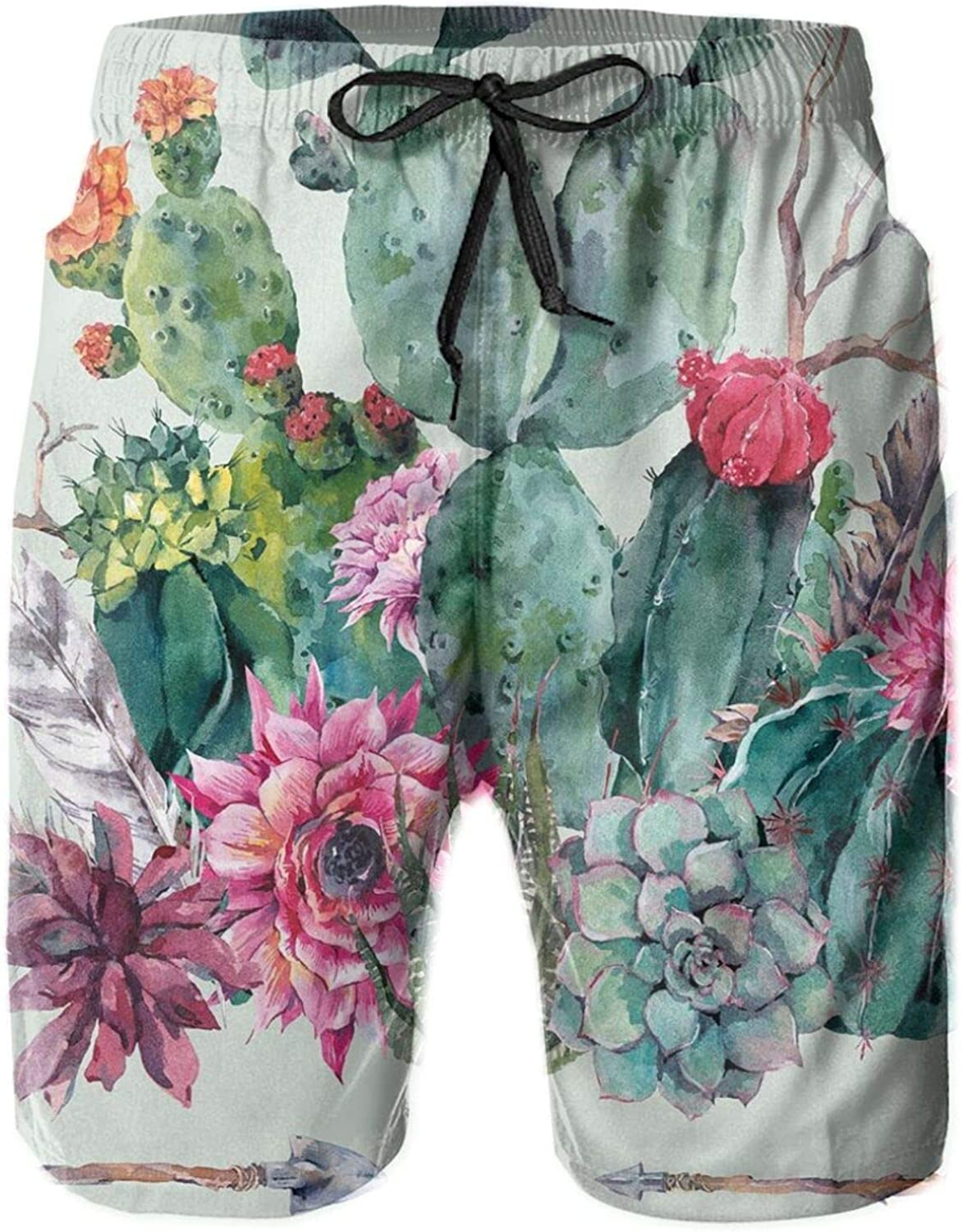 Spring Garden with Boho Style Bouquet of Thorny Plants Blooms Arrows Feathers Theme Printed Beach Shorts for Men Swim Trucks Mesh Lining,XL
