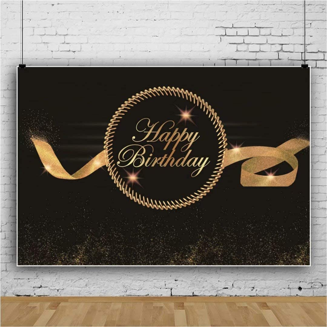 DaShan 14x10ft Happy Birthday Backdrop Women Lady Men Black and Golden Ribbon Glitter Birthday Celebration Photography Background Birthday Party Decoration Cake Table Banner Photo Props