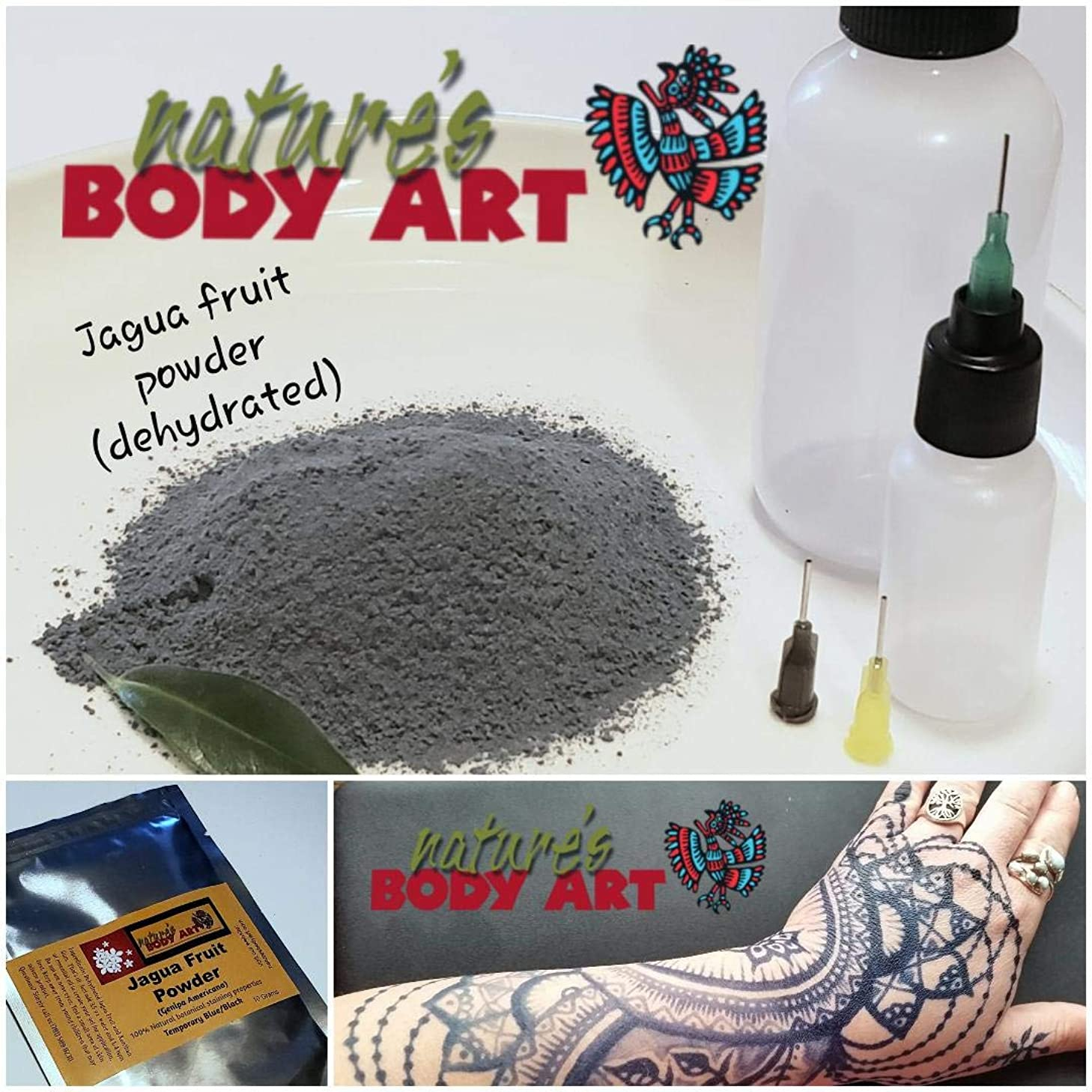 Jagua Tattoo Kit - (dehydrated Fruit Powder Makes 4 Ounces of Gel) Over 120 Tattoo -Support Non-Profit-