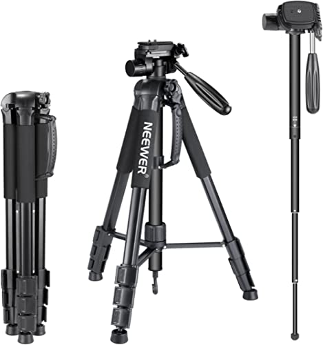 "Neewer Portable Aluminum Alloy Camera 2-in-1 Tripod Monopod Max. 70""/177 cm with 3-Way Swivel Pan Head and Carrying B..."