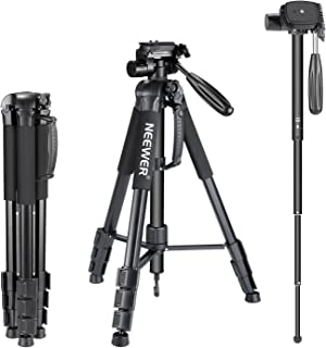 "Neewer Portable Aluminum Alloy Camera 2-in-1 Tripod Monopod Max. 70""/177 cm with 3-Way Swivel Pan Head and Carrying Bag for DSLR,DV Video Camcorder"
