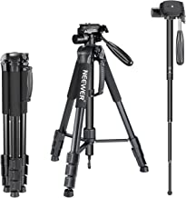 "Neewer Portable Aluminum Alloy Camera 2-in-1 Tripod Monopod Max. 70""/177 cm with 3-Way Swivel Pan Head and Carrying Bag fo..."