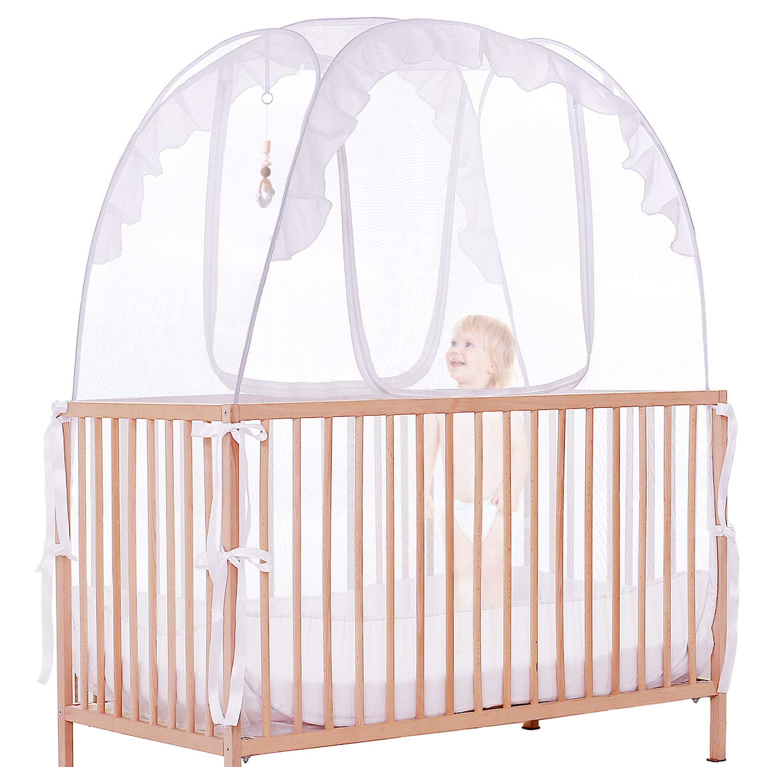 Crib Canopy – Baby Tent with Doll Hanging Rope – Crib Tent to Keep Baby from Climbing Out – Mosquito Net for Crib – Optimal Air Circulation – Sturdy Zipper Closure – Easy DIY Mounting