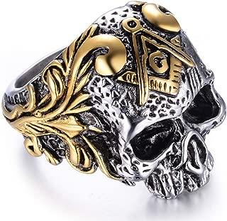 Stainless Steel Gothic Skull Vintage Masonic Biker Ring