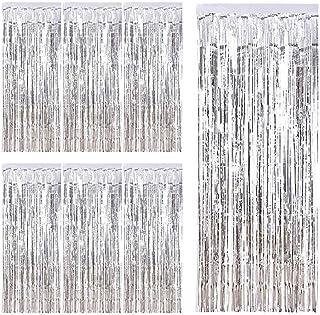 con Frange metallizzate e Glitter Set di 6 Tende Metalliche con 10 coriandoli in Lattice a Forma di Palloncino Colore: Argento KYONANO Lametta Ideali Come Decorazione Natalizia