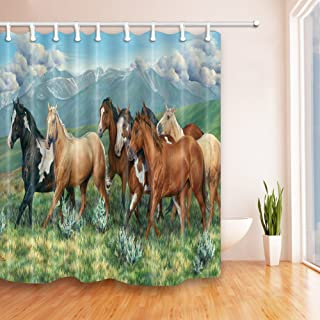 Brown Black Horse Shower Curtains Animal Personality Creativity Bathroom Decor Waterproof Polyester Fabric Home Bath Decor Accessories Blackout Hanging Shower Curtain Sets 69 x 70 Inch Includes Hooks