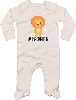 Kleckerliese Baby Schlafanzug Strampler Schlafstrampler Sprüche Jungen Mädchen Motiv Tiere Löwe Wunschname Name Wunschtext