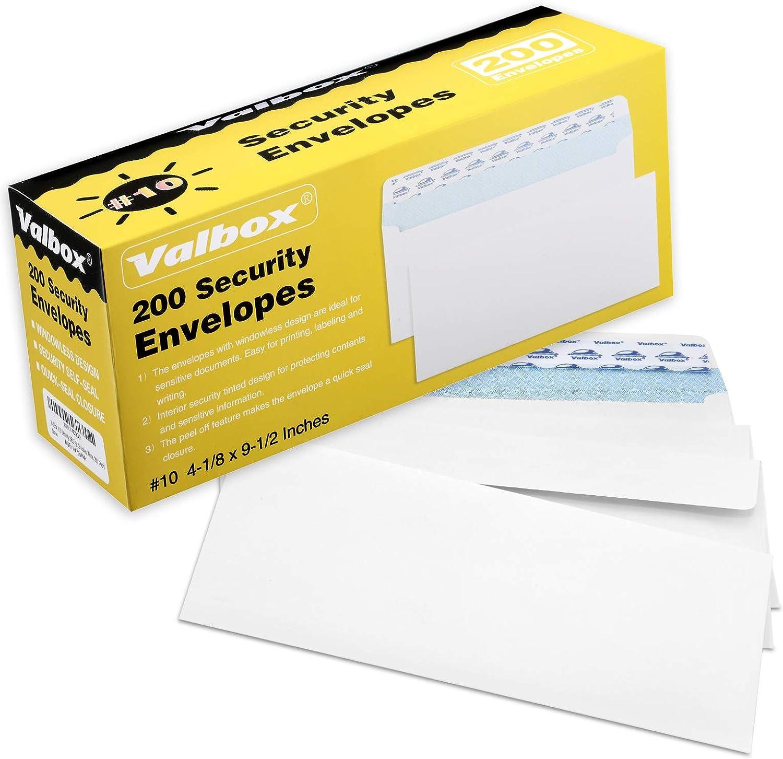 ValBox Max 74% OFF #10 Security Genuine Envelopes Self Secur 10 Seal No. Windowless