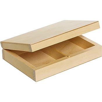 Creative Deco Estuche de Madera para Cartas de Juego | 2 Compartimientos | 16 x 12 x 4,5 cm | con Tapa | Caja Almacenamiento, Decoración y Decoupage: Amazon.es: Hogar