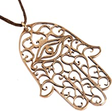 product image for Large Hamsa Peace Bronze Pendant Necklace on Adjustable Natural Fiber Cord