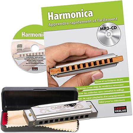CASCHA Set Harmonica débutant avec méthode d'instruction française, apprendre à jouer de l'harmonica blues, avec étui, chiffon de soin et manuel, harmonica en do majeur
