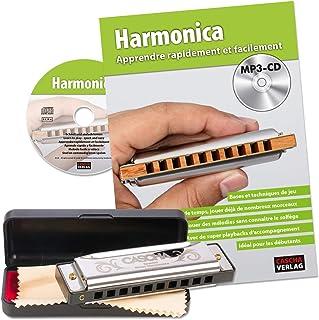 CASCHA Set Harmonica débutant avec méthode d'instruction française, apprendre à jouer de l'harmonica blues, avec étui, chi...