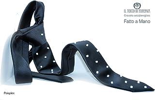 Cravatta blunotte pois bianco Poisplex fatto a mano Made in Italy - Handmade - Regali uomo - Artigianale - idee regali ori...