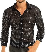 YiZYiF Men's Dress Shirt Shiny Sequins Long Sleeve Button Down 70s Disco Shirt Party Costume