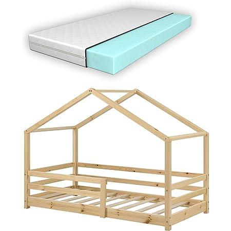 Lit d'enfant Design en Forme Maison avec Grille de Protection Lit Cabane Construction Solide avec Matelas Orthopédique Bois de Pin 160 x 80 cm Naturel