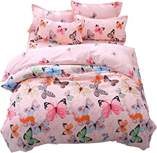 Lemontree Butterfly Bedding Set- Girls Soft Bedding DUVET COVER-Pink Butterflies Floral Patterns,Hypoallergenic,Microfiber -1 Duvet Cover + 1 FLAT Sheet + 2 Pillowcases JUST COVER NOT COMFORTER
