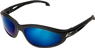 Edge Eyewear TSMAP218 Dakura Polarized Safety Glasses, Black with Aqua Precision Blue Mirror Lens