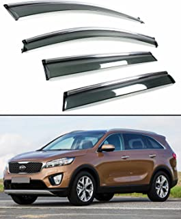 Fits for 2016-2019 KIA Sorento Clip-on Type Smoke Tinted Window Visor W/Chrome Trim