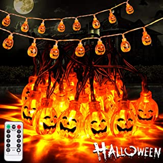 Litake Halloween Pumpkin String Lights with Remote,Waterproof 3D Jack-O-Lantern Halloween Decoration Lights Outdoor Indoo...