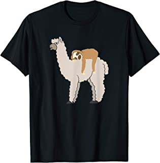 Sloth Riding Llama Adorable Fluffy Lama & Sleepy Sloth Pals T-Shirt