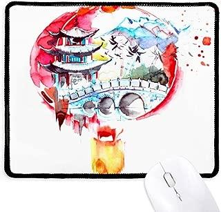 China Chinese Lantern Bridge Drawing Non-Slip Mousepad Game Office Black Stitched Edges Gift