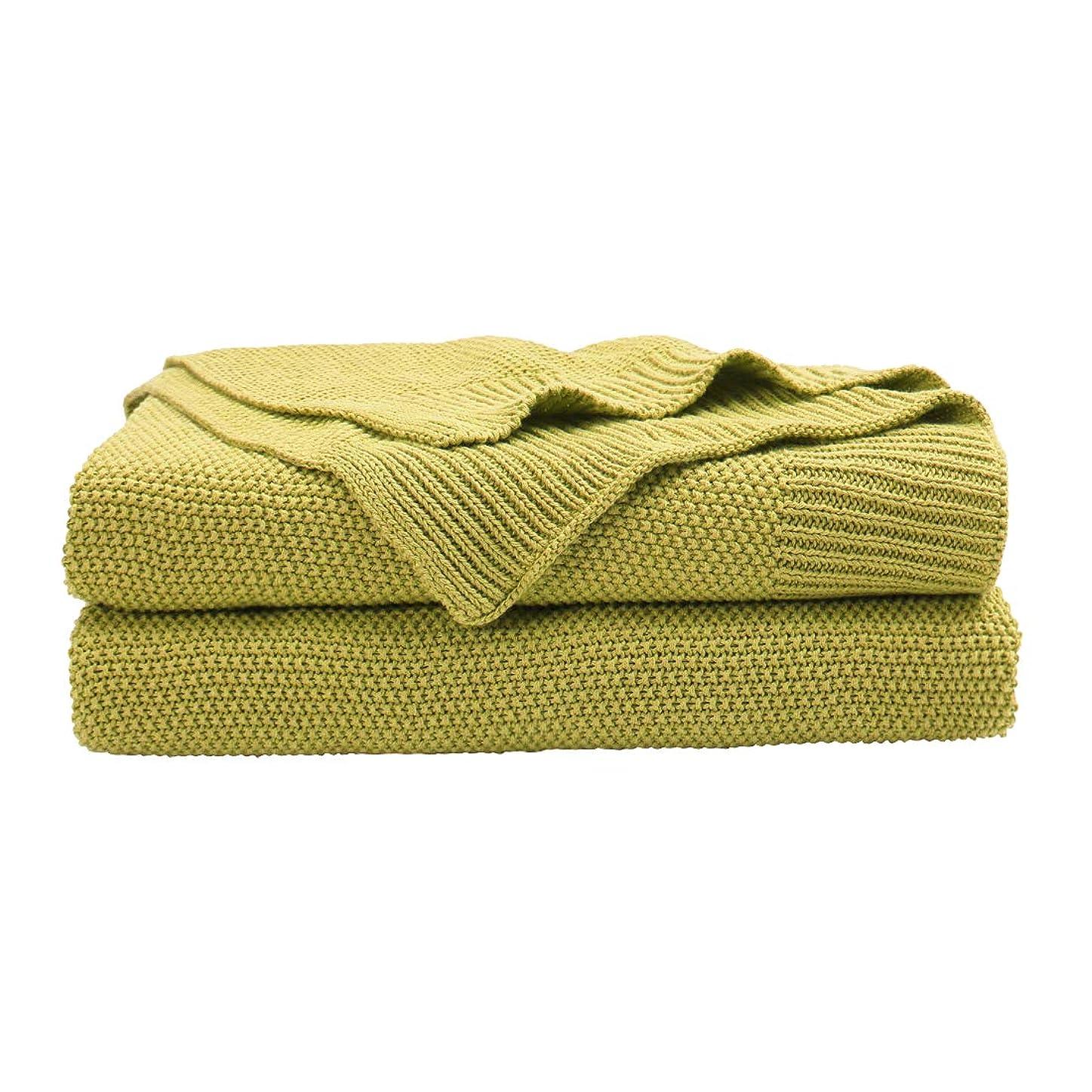 ましい活性化妻uxcell ブランケット?100%コットンニットスローソフトソリッド装飾 ニットブランケット?ソファソファベッドルーム用 黄緑 60