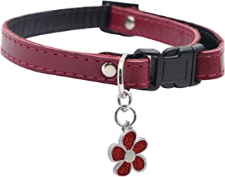 Dogit Leather Style Adjustable Dog Collar with Buckle and Pewter Flower Charm, 9-14-Inch, Red
