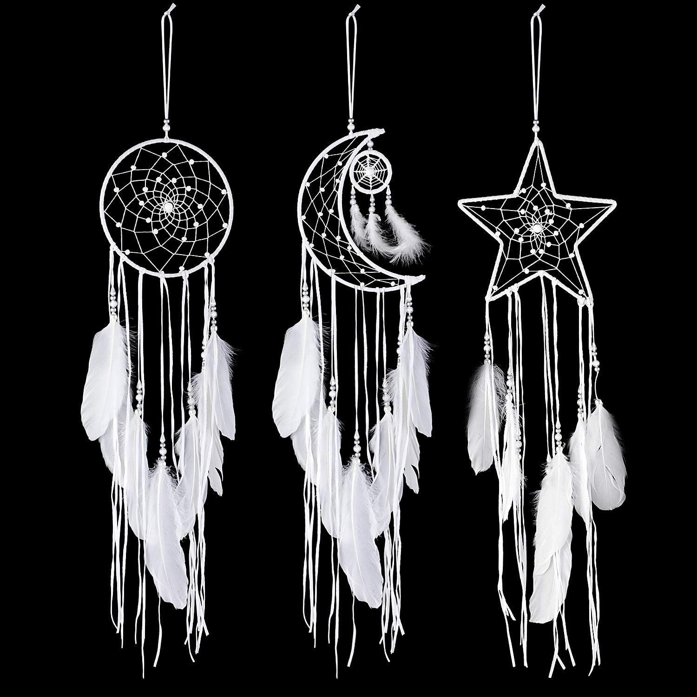 Jetec 3 Piezas Atrapasueños con Diseño de Luna Sol Estrella Tradicional Hecho a Mano para Colgar en Pared Decoración de Hogar (Blanco)