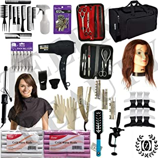 Cosmetology Kit w/Mannequin Head, Travel Ready Beauty Chest Made for Beginners! Small and Big Wave Rods! Blow Dryer! Shears & Manicure Set! Custom Comb Set! Curling Iron! Hair School Ready!