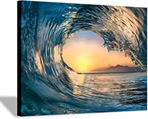 Hardy Gallery Ocean Wave Picture Wall Art: Tropical Seascape Sunset Canvas Prints for Office (16'' x 12'' x 1 Panel)