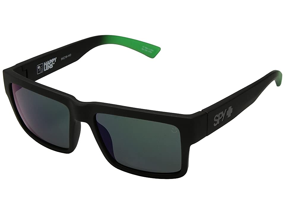 Spy Optic Montana (Montana Soft Matte Black/Green Fade/Happy Gray/Green/Green Flash) Plastic Frame Sport Sunglasses