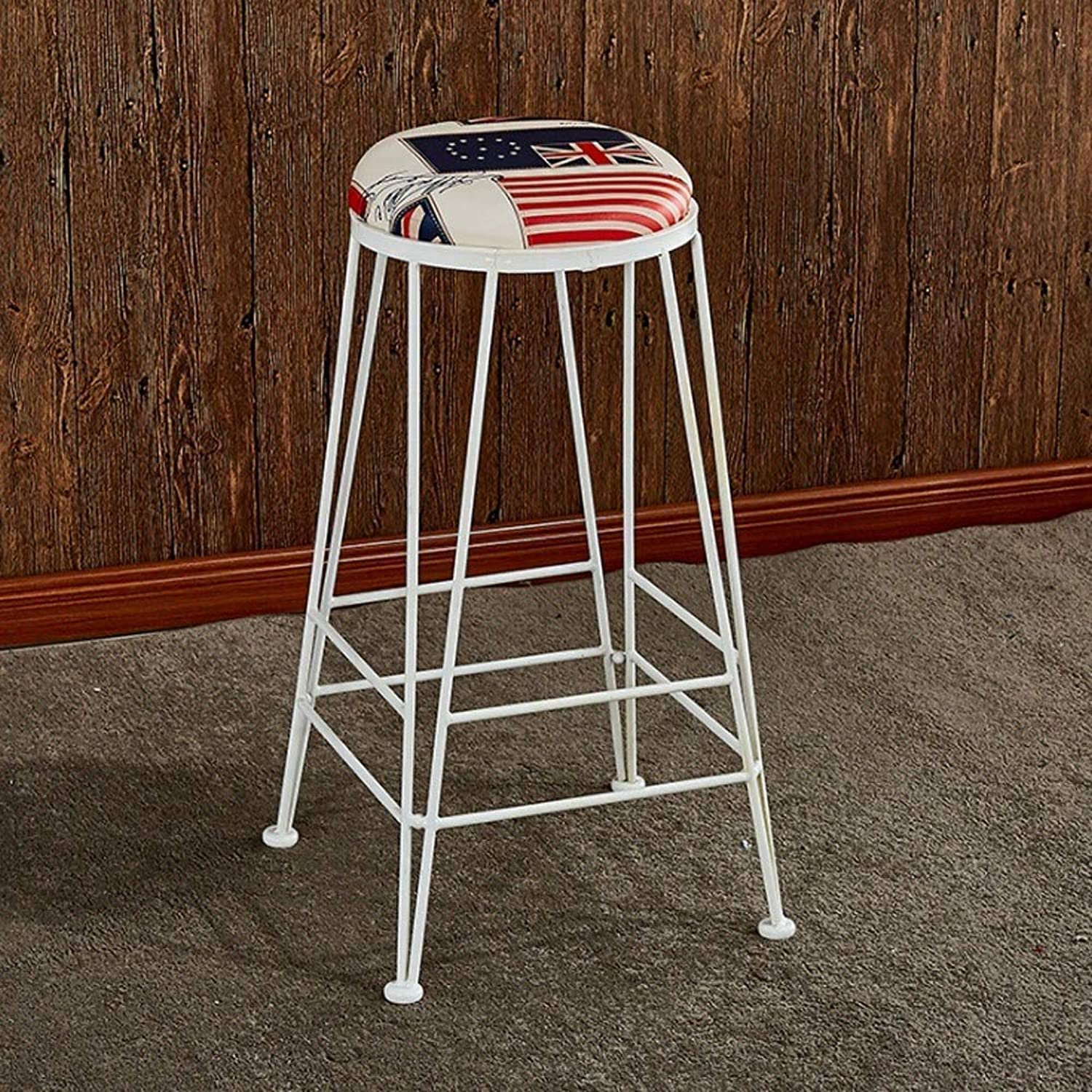 30-inch-Industrial Bar Stool, Restaurant Kitchen Cafe Round High Stool Dining Stool (color   F)