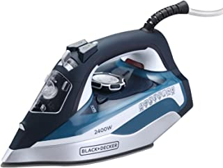 Black+Decker 2400W Steam Iron With Ceramic Soleplate Auto Shut-Off, Blue - X2150-B5, 2 Years Warranty