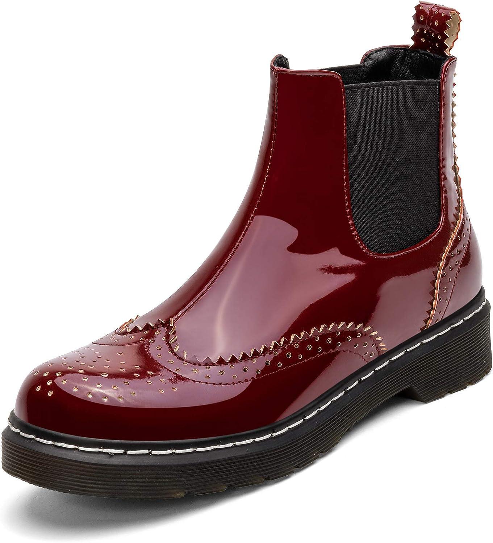 Kitlnno Women'S Patent San Antonio Mall Leather Platform Flat All items free shipping Chelsea Boots Heel