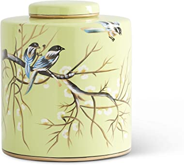 K&K Interiors 16348A-2 9.5 Inch Green Ceramic Lidded Container W/Song Birds