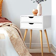 Artiss Bedside Table with 2 Drawers, Wooden Sofa Side Table 60cm Height, White