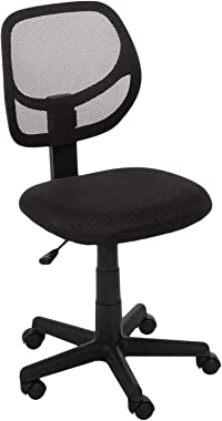 AmazonBasics Low-Back, Upholstered Mesh, Adjustable, Swivel Computer Office Desk Chair, Black
