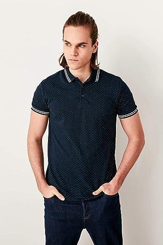 LFNANYI - Sweat-Shirt en Coton Confortable à Manches Courtes pour Hommes à la Mode Bleue Homme T-Shirt à col en Polka Pois