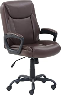 AmazonBasics Classic Puresoft PU-Padded Mid-Back Office Computer Desk Chair with Armrest - Brown, BIFMA Certified
