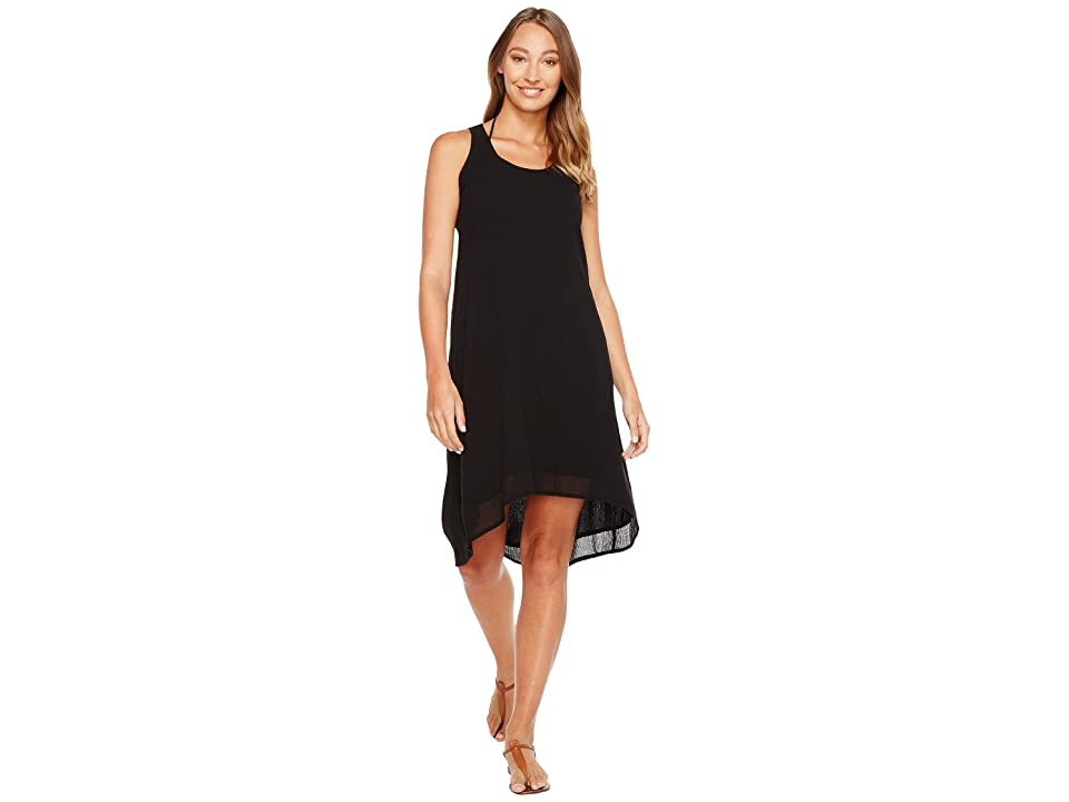 Mod-o-doc Gauze Crochet Back Tank Dress/Cover-Up (Black) Women