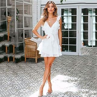 Donna V collo Bodycon Casual Ruffle frill Da Donna Bardot Off spalla abito Midi