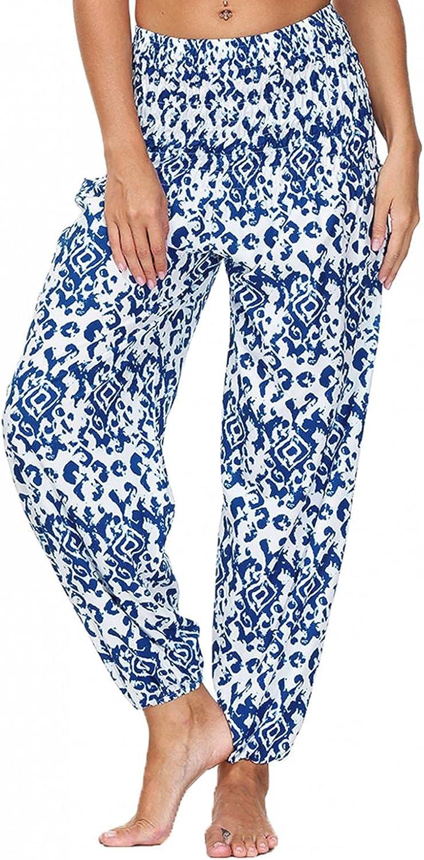 Lovor Women's Rayon Print Smocked Waist Harem Pants Boho Yoga Hippie Pants Summer Harem Pants Print Loose Yoga Beach Pants