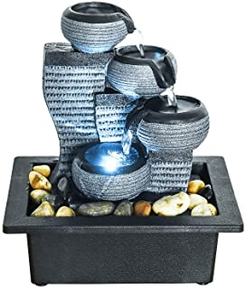 """BBabe Desktop Decor LED Illuminated Indoor Portable Waterfall Tabletop Fountains 10 1/5"""" High"""