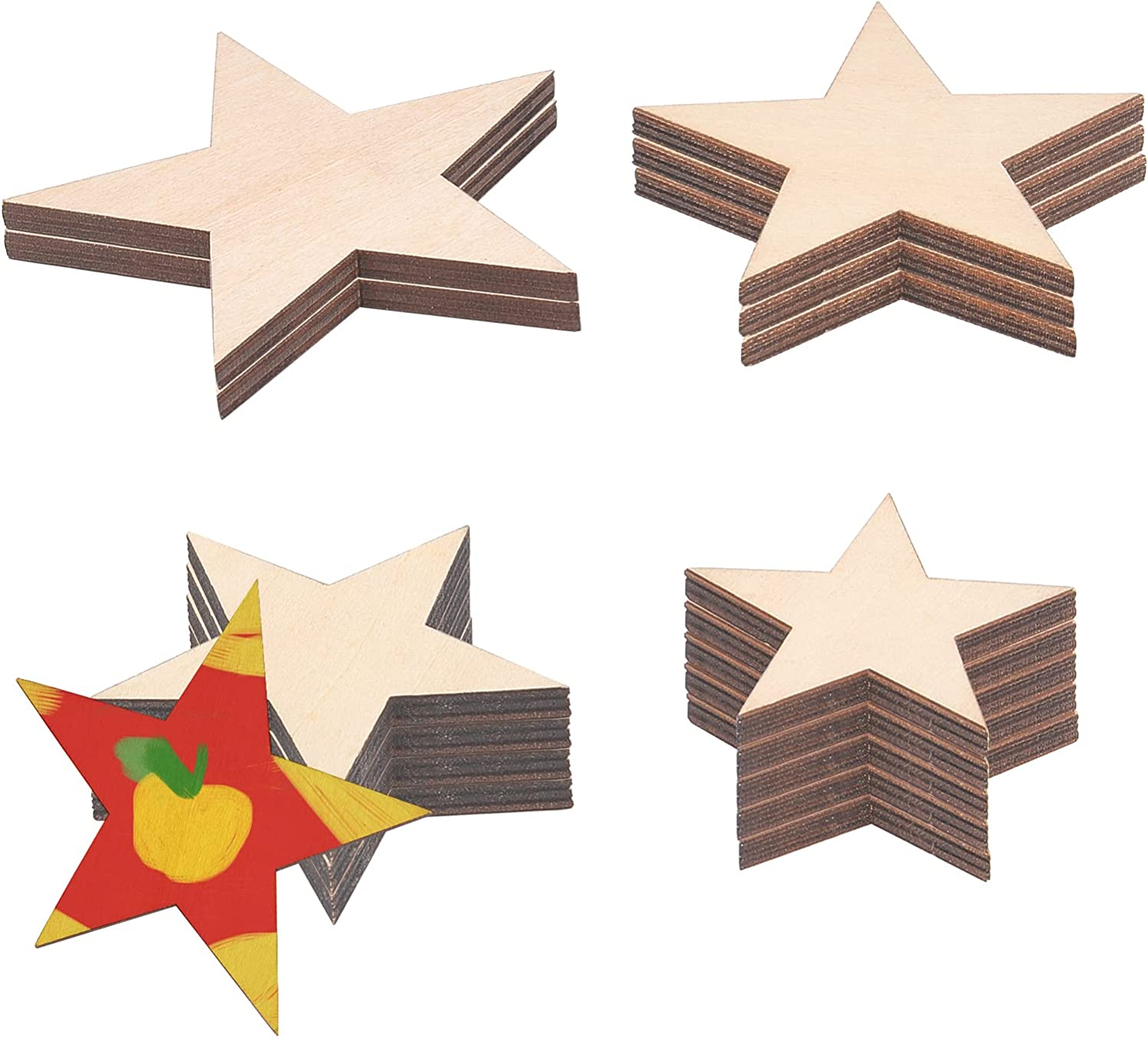 GORGECRAFT 14PCS 4 Size Wooden Cutouts St Unfinished Popular overseas Star Bombing new work